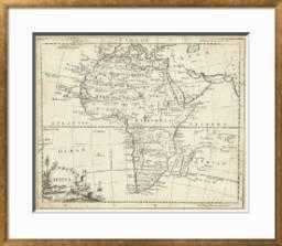 "Map of Africa -  40"" x 30"" Art Print -Bristol 0.94"" Frame -Crisp - Bright White 4"" Mat - art.com"