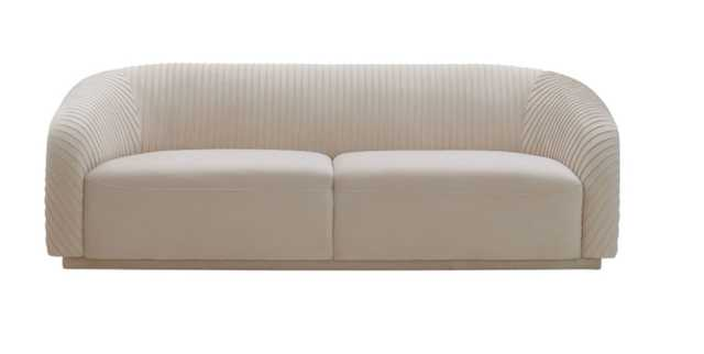 Miracle Pleated Beige Velvet Sofa - Maren Home