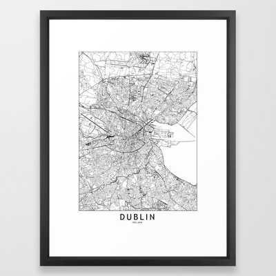 Dublin White Map Framed Art Print - Society6
