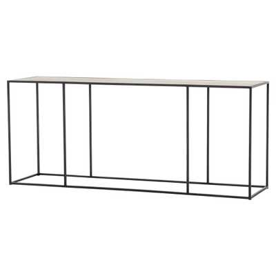 Miko Industrial Loft Minimalist Brass Metal Console Table - Kathy Kuo Home