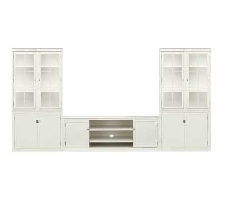 Logan Large Media Suite with Doors and Glass Towers, White - Pottery Barn