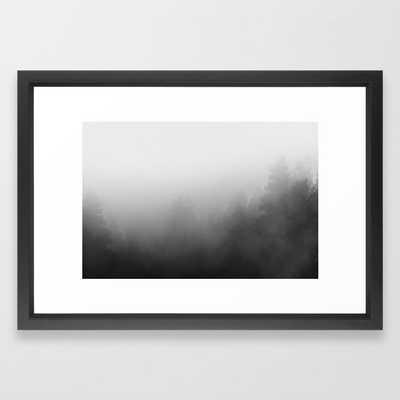 trees in fog - forest landscape - black and white Framed Art Print - Society6