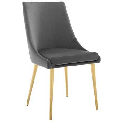 VISCOUNT MODWAY ACCENT PERFORMANCE VELVET DINING CHAIR IN GRAY - Modway Furniture