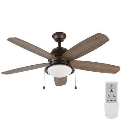 Ackerly 52 in. Integrated LED Bronze Ceiling Fan with Light Kit Works, Google Assistant and Alexa - Home Depot