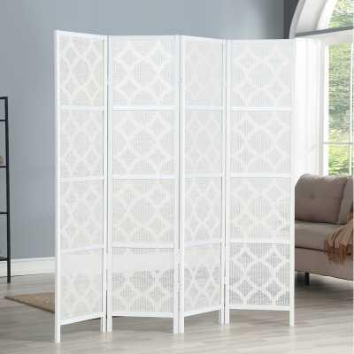 Keper Quarterfoil Infused Diamond Design 4 Panel Room Divider - Wayfair