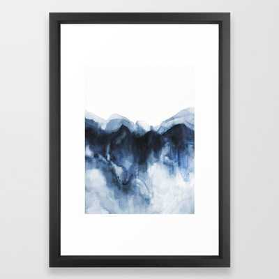 Abstract Indigo Mountains framed- vector white frame (not pictured) - Society6