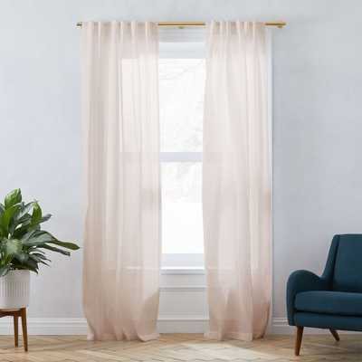 "Belgian Flax Linen Sheer Curtain, Dusty Blush, 48""x96"" - West Elm"