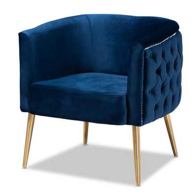 BAXTON STUDIO MARCELLE GLAM AND LUXE NAVY BLUE VELVET FABRIC UPHOLSTERED BRUSHED GOLD FINISHED ACCENT CHAIR - Lark Interiors
