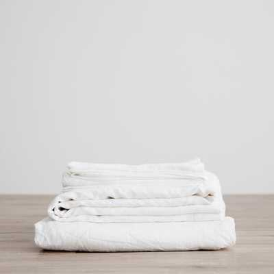 CULTIVER LINEN BEDDING, WHITE SHEET SET-QUEEN - Lulu and Georgia
