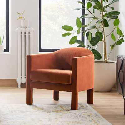 Isabella Upholstered Chair, Poly, Astor Velvet, Rust, Individual - West Elm