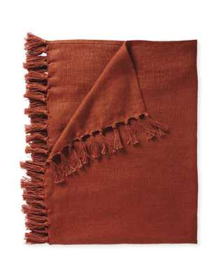 Mendocino Linen Throw - Terracotta - Serena and Lily