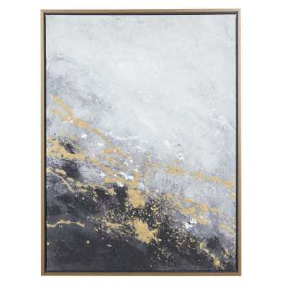 "Rectangular Dark Grey And Gold Foil Abstract Corner Wall Art With Gold Wood Frame, 30"" X 40"" - Picture Frame Painting on Canvas - Wayfair"