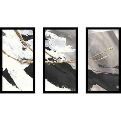 "33.5"" H x 52.5"" W x 1"" D Gray/Black Gilded Arcs I - 3 Piece Picture Frame Photograph Print Set on Plastic/Acrylic - Wayfair"