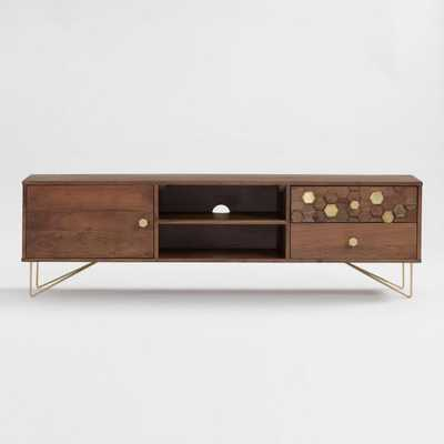 Wood Hexagon and Gold Inlay Hairpin Natasha Cabinet: Brown - Metal  by World Market - World Market/Cost Plus