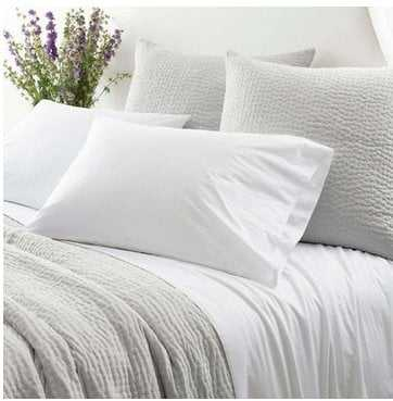 Laundered Hem White Sheet Set -king - Pine Cone Hill