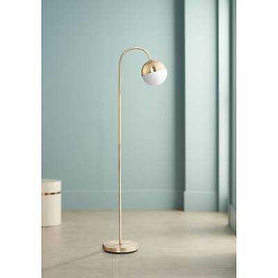 Mid Century Modern Floor Lamp Brass Round White Glass Globe For Living Room - Lamps Plus