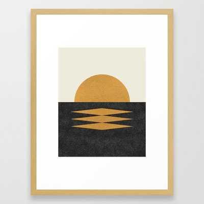 Sunset Geometric Midcentury style Framed Art Print - Society6