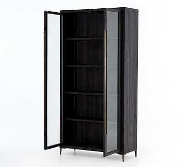 Braden Display Cabinet, Natural Oak/Satin Brass - Pottery Barn