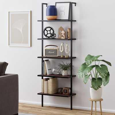 Nathan James Theo Dark Brown 5-Shelf Ladder Bookcase with Black Metal Frame, Walnut Brown/Black - Home Depot