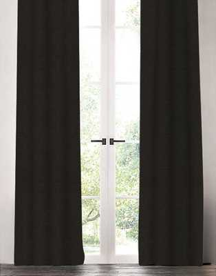 "Linen Drapery Single Panel, Black, 96"" - Havenly Essentials"