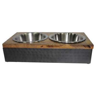 Wood/Metal Double Diner Cat and Dog Bowl - Silver - Boots & Barkley - Target