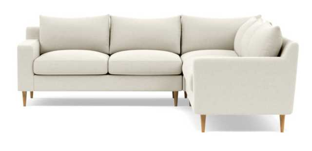 Sloan Corner Sectional with White Chalk Fabric, double down blend cushions, and Natural Oak legs - Interior Define