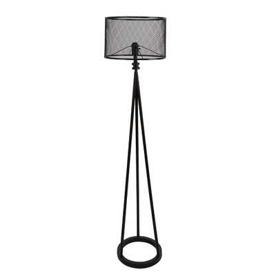 64 in. Woodruff Industrial Tripod Black Floor Lamp with Shade - Home Depot