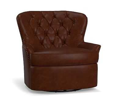 Cardiff Leather Swivel Armchair, Polyester Wrapped Cushions, Statesville Molasses - Pottery Barn