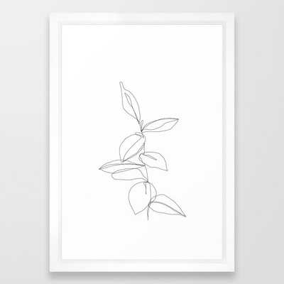 "One line minimal plant leaves drawing - Berry Framed Art Print, Vector White Frame 15""x21"" - Society6"