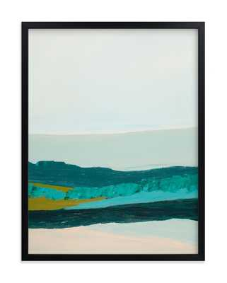 "Abstract Seascape Jade Green - 18"" x 24"" - rich black wood frame - Minted"