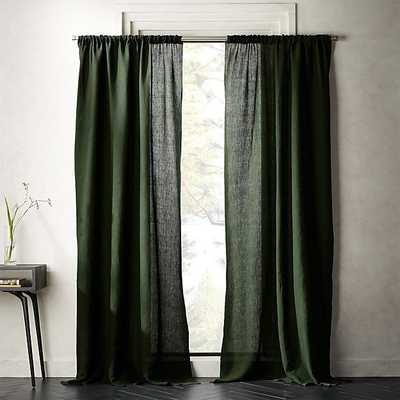 "FOREST GREEN LINEN CURTAIN PANEL 48""X108"" - CB2"