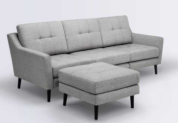 Sofa in Crushed Gravel with Ottoman (3 seater) Low arms rest Paired with ottoman - Burrow