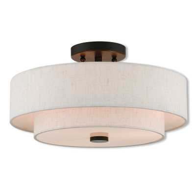 "Lavina 3 - Light 15"" Shaded Tiered Semi Flush Mount - Wayfair"