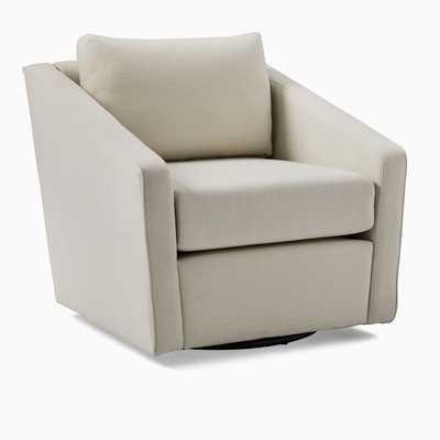Tessa Deco Swivel Chair, Platinum Performance Coastal Linen - West Elm