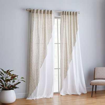 "Belgian Flax Linen Diagonal Contrast Curtain, Flax Multi/White, 48""X96"" - West Elm"