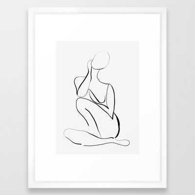 Female Figure Line Art Framed Art Print - Society6
