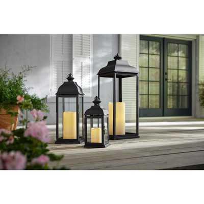 Hampton Bay 22 in. Traditional Black Steel Outdoor Patio Lantern - Home Depot