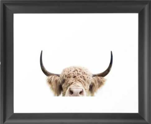 Peeking Highland Cow Framed Art Print - Society6