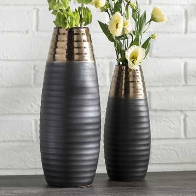 Ceramic Two-toned 2 Piece Floor Vase Set - Wayfair