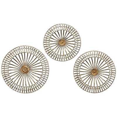 Jennings Gold Metal Wall Discs Set of 3 - Lamps Plus