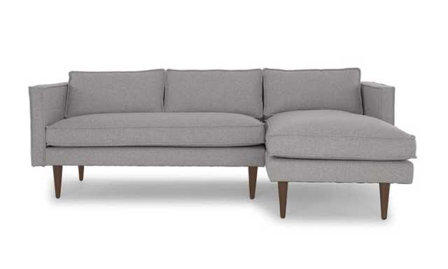 Serena Right-Facing Sectional - Taylor Felt Grey Fabric/Coffee Bean Legs - Joybird