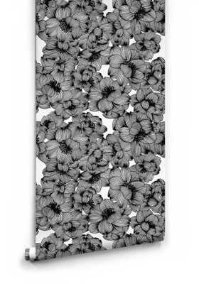 Flora Boutique Wallpaper in Original Black by Milton & King - Burke Decor