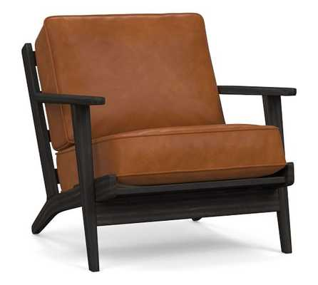 Raylan Leather Armchair with Black Frame, Down Blend Wrapped Cushions, Vintage Caramel - Pottery Barn