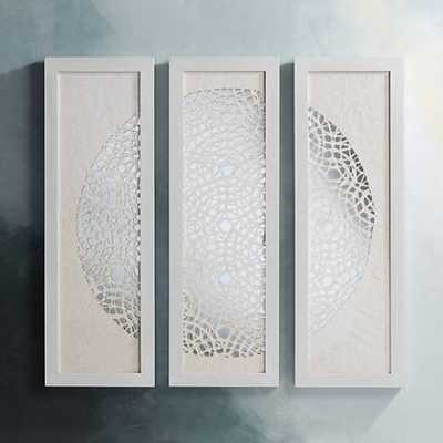 """Pini Woven Ivory 47"""" High Mirrored Wall Art Set of 3 - Lamps Plus"""