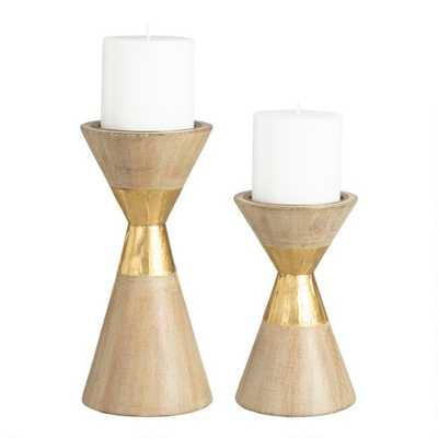 Brushed Gold Metal Contemporary Pillar Candleholder - Large by World Market Large - World Market/Cost Plus