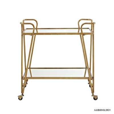 Mid-Century Gold Bar Cart with Castors - Home Depot