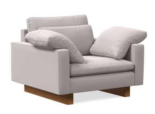Harmony Chair and a Half, Astor Velvet, Frost Gray, Dark Walnut, Down - West Elm