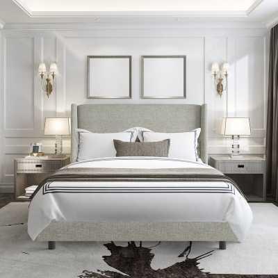Alrai Upholstered Standard Bed - Queen - Zuma Pumice - Wayfair