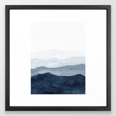 "Indigo Abstract Watercolor Mountains Framed Art Print, FRAME Vector Black, SIZE Medium (gallery) - 22"" X 22"", - Society6"
