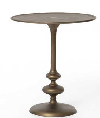 Marlow Matchstick Pedestal Table in Matte Brass - Burke Decor